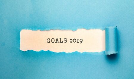 blue torn paper with goals 2019  text