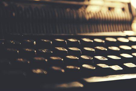Keyboard of an vintage typewriter with cyrillic keys