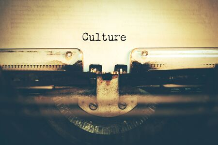 culture text with typewriter