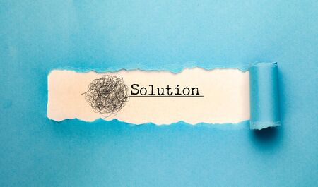 Solution text  with torn paper