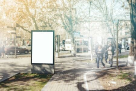 Blank billboard on bus stop for your advertising Stock fotó