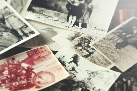 old vintage photos on table