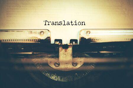 typewriter with translation text