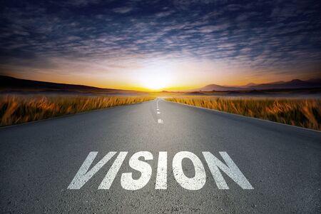 vision text on road in asphalt Imagens