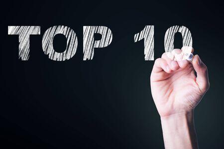 man written top 10 text in screen