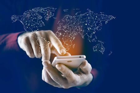 man hand phone with map in screen