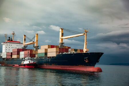 Container Ship in the  Sea under sky Imagens