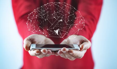 man hand phone with brain in screen
