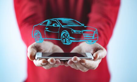 man hand  phone with car model in screen Imagens