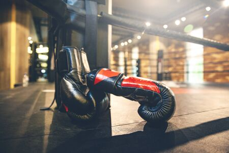 Pair of red boxing gloves in ring Imagens