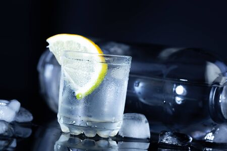 lemon on glass for vodka