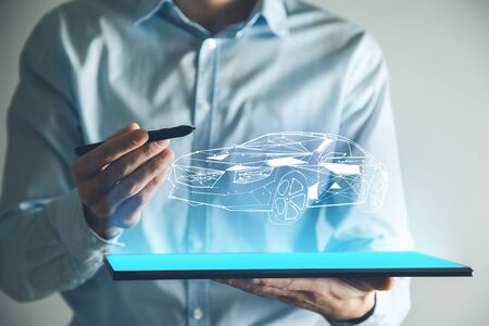 man hand tablet with car model in screen