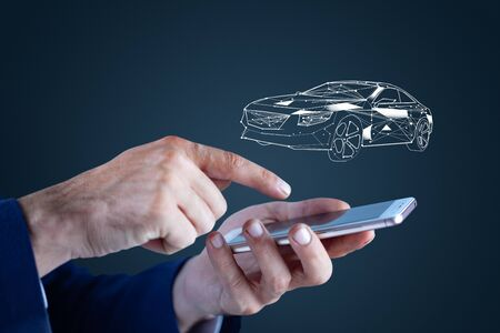 man hand phone with car model in screen
