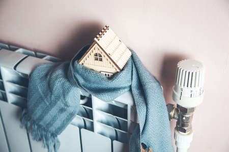 house model with scarf in home Stock Photo