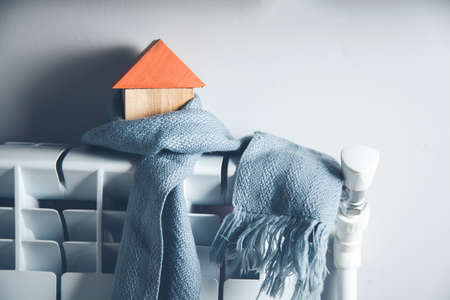 house model with scarf in home background Banque d'images
