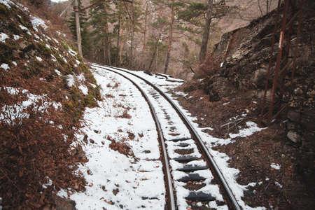 snowy railroads in winter background