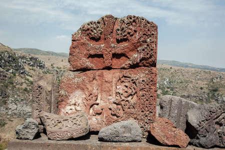Traditional Armenian medieval cross stone under sky