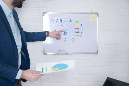 man hand graph with board on brick wall background 版權商用圖片
