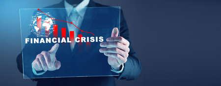 man finger touching financial crisis in screen
