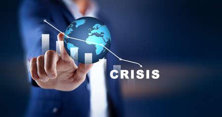 man hand financial crisis in screenon dark background 版權商用圖片