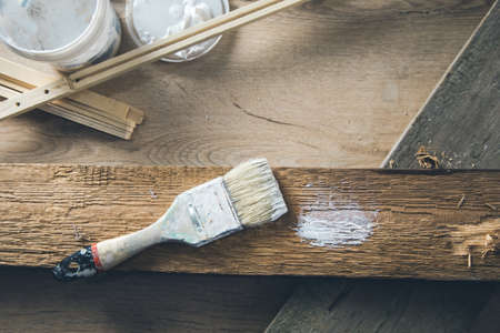 paint brush on the wood background
