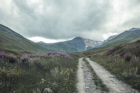 the road on the mountains and dark sky