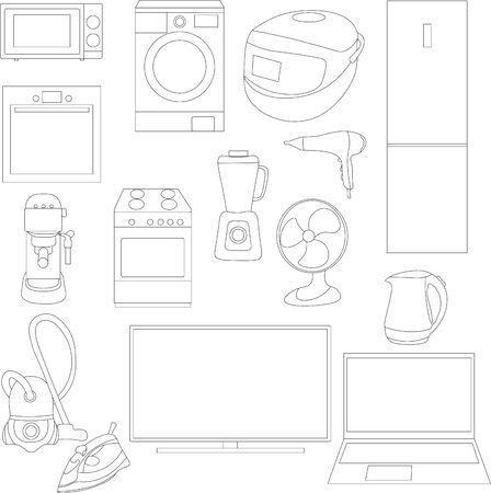 set of 15 household appliances, home appliances