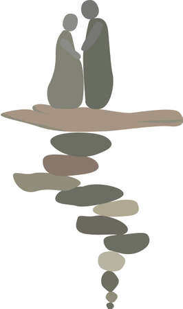 Composition from stones of a man and a woman. Stock Illustratie