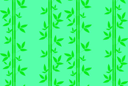 Seamless pattern with green bamboo leaves on a green background.  イラスト・ベクター素材