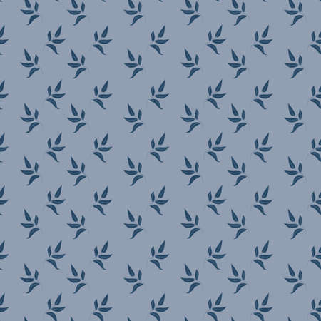 Seamless pattern with leaves on a blue background