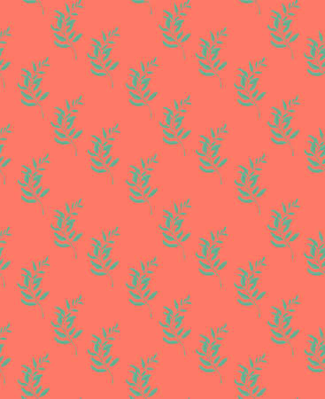 Seamless repeating pattern of green leaves on a pink background. Template for interior design, Wallpaper, fabric, sofa, curtains, walls. 向量圖像