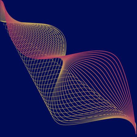Technical background with abstract wave line. Vector wave on a blue background.