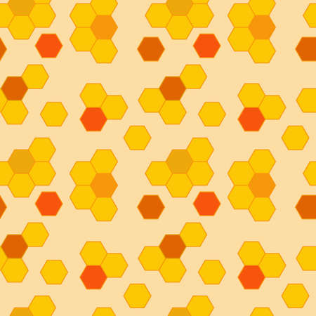 Vector honeycomb orange continuous pattern. Background for design.