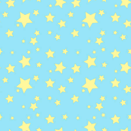 Seamless background with yellow stars on the blue sky. Vector on the theme of stars. Ilustrace