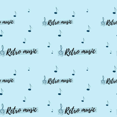 Seamless pattern with music notes and strings. 向量圖像