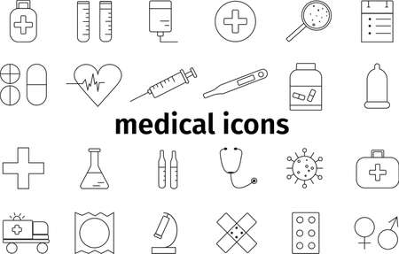 Simple shape medical icons. Resizable black elements. Vector set on a medical theme.