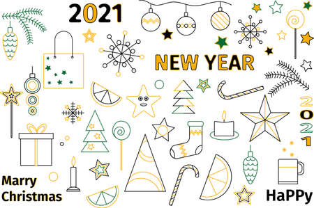 A set of combinable elements for the new year and christmas. Vector
