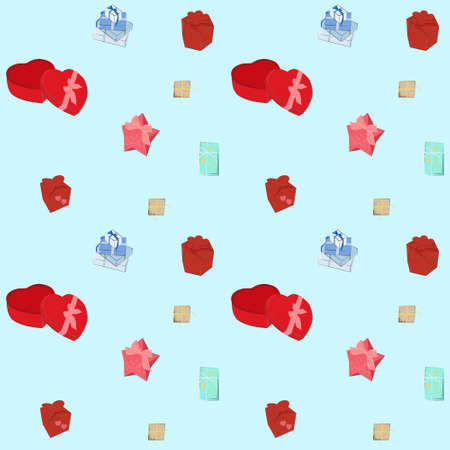 Seamless repeating pattern with gifts of different shapes and colors. Background with padarkas for design.