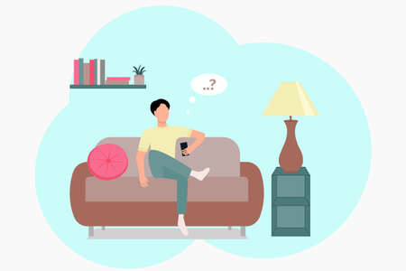 A man with a telephone is sitting on the couch. Vector of a man at home. The guy works remotely, isolation in the apartment. Flat illustration, concept. Vektorgrafik