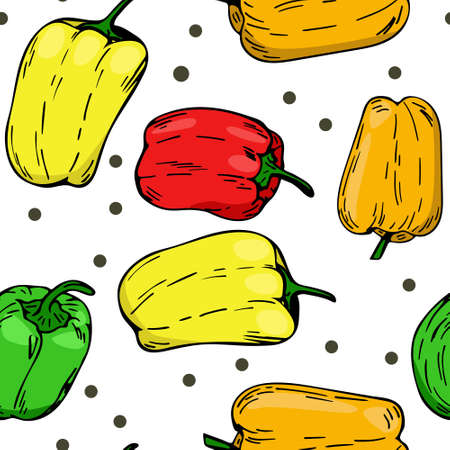 Bright background with peppers of different colors. Vector repeating pattern. Red pepper yellow orange green. Freehand drawing.