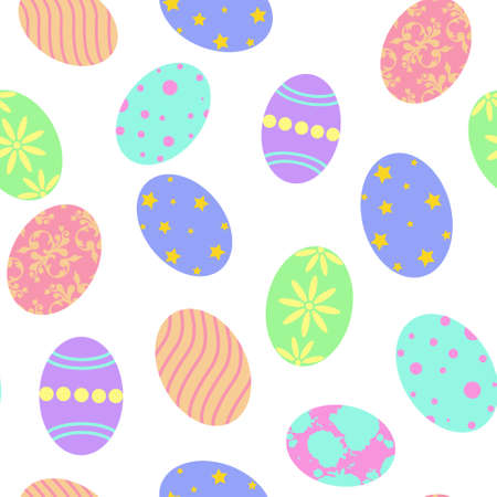 Seamless background with Easter eggs. Repeating pattern for Easter. Vector painted colored eggs, a symbol of the holiday.Background.