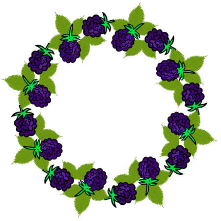 Round frame with blackberries. Circle with forest purple berries. Berries in a circle, rim for design. Form for text.Vector.