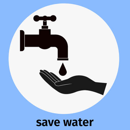 Conserve water. Faucet with dripping water and hand. Symbol of saving and preserving natural resources. Vector, concept.