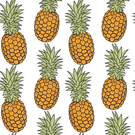 Seamless background with pineapples. Exotic fruits, solid background. Whole pineapple fruits, background illustration. Vector.