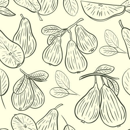 Pear sketch seamless pattern, vector. Wallpaper whole pear, on a branch, half and leaves. Background with fruits hand drawing. Vektoros illusztráció