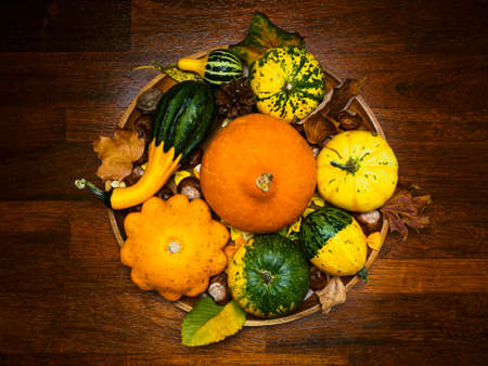 flat lay of various pumpkins on a round wooden plate on a rustic table, in brown tones