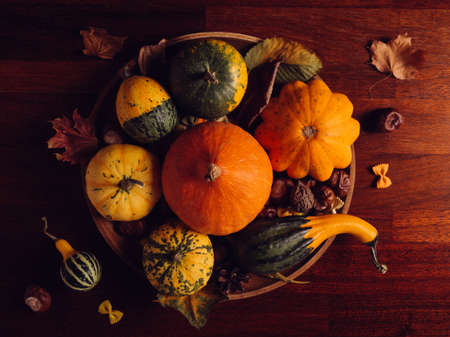 autumn still life with pumpkins, squashes, leaves and chestnuts on a rustic table, top view, in low key