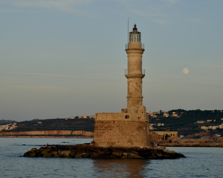 venecian: The lighthouse at the Venecian harbour of Chania, Crete Stock Photo