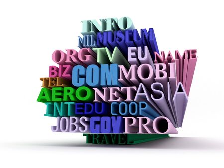 international domains text in 3d isolated over white