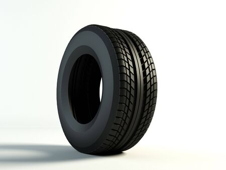 Brand new tyre, 3d rendering of car wheel